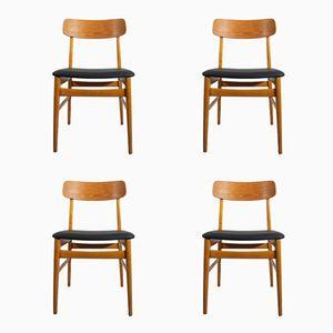 Teak & Beech Chairs, 1950s, Set of 4