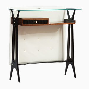 Italian Rosewood and Leather Console, 1950s