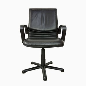 Drehbarer Bürostuhl aus Leder, 1980er