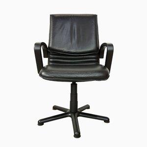 Sedia da ufficio girevole in pelle, anni '80