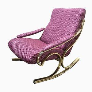 Rocking Chair en Laiton, Italie, 1970s
