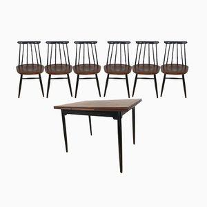 Taviolo e 6 sedie da pranzo di Ilmari Tapiovaara per Asko, anni '60