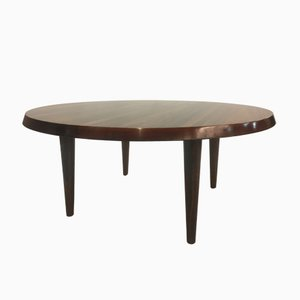 Round Danish Rosewood Coffee Table from CFC Silkeborg, 1950s
