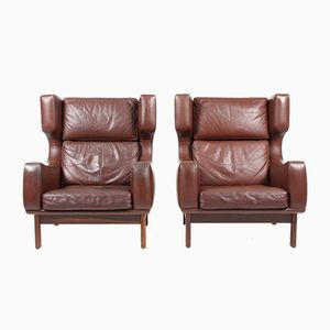 Leather Wingback Chairs from Eran, 1960s, Set of 2