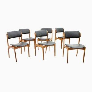 Esszimmerstühle aus Teak und Leder von Erik Buch für Oddense, 1960er, 6er Set