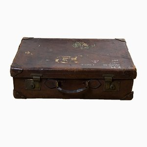 Antique Leather Suitcase from Royal Dutch Marine Corps