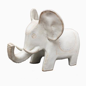 Éléphant en Céramique Blanc par Bruno Gambone, 1970s