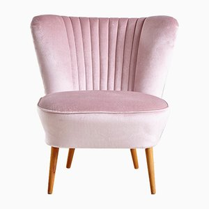 Blush Pink Velvet Club Chair, 1970s