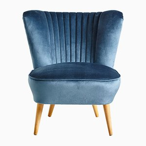Navy Blue Velvet Club Chair, 1970s