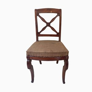 Antique French Empire Walnut Chairs, 1820s, Set of 5
