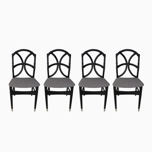 Wooden Chairs with Rattan, 1960s, Set of 4