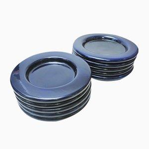 Tiefe blaue emailliert Mid-Century Keramik Teller von Gabbianelli Sezione, 10er Set