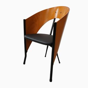 Chairs in Curved Wood and Metal, 1980s, Set of 6