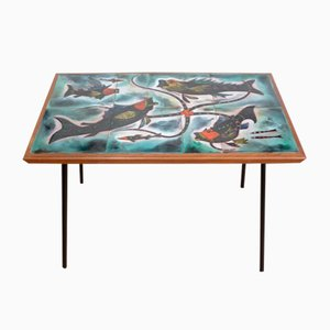 Coffee Table with Fish Decor in Enameled Ceramic from Edilgres, 1950s