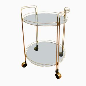 Two-Tiered Round Trolley in Gilded Metal & Glass, 1970s