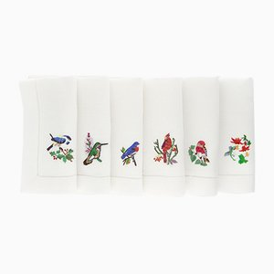 Uccelli Napkins by The NapKing for Bellavia Ricami SPA, Set of 6