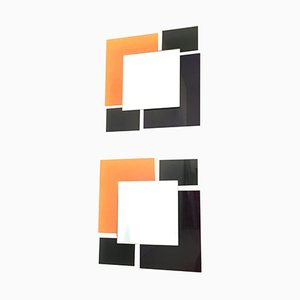 Black and Orange Wall Mirrors, 1980s, Set of 2