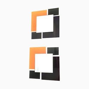 Miroirs Muraux Noir & Orange, 1980s, Set de 2