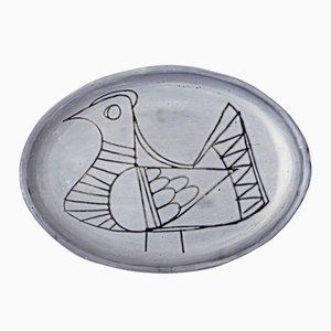 Assiette Oiseau par Jacques Pouchain pour l'Atelier Dieulefit, 1950s