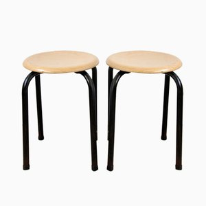 Industrial Stools with Black Frames, 1970s, Set of 2