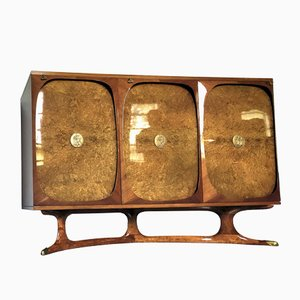 Italian Rosewood Highboard with 3 Birch Briar Root Doors by Vittorio Dassi for Lissone, 1950s