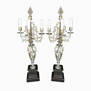 Antique Pewter Candleholders, Set of 2