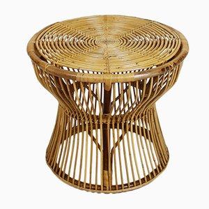 Italian Mid-Century Bamboo & Rattan Side Table by Franco Albini for Vittorio Bonacina