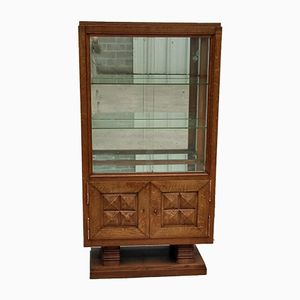 Art Deco Oak Showcase Cabinet by Charles Dudouyt, 1940s