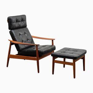 Vintage Teak & Leder FD-164 Sessel & Hocker von Arne Vodder für France & Søn