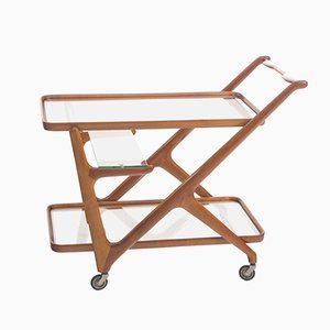 Wood & Glass Bar Cart, 1950s
