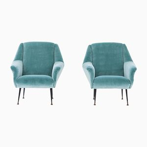 Italian Armchairs in Turquoise Velvet, 1950s, Set of 2