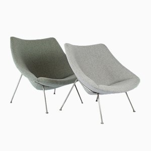 Mid-Century Small & Large Oyster Chairs by Pierre Paulin for Artifort