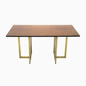 Französischer Vintage Messing & Wurzelholz Tisch von Jean Claude Mahey