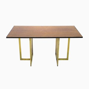 Vintage French Brass & Burlwood Table by Jean Claude Mahey