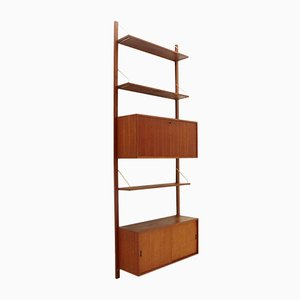 Italian Teak & Brass Wall Unit , 1950s