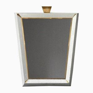 Großer beleuchteter Mid-Century Modern Spiegel mit Messing Details