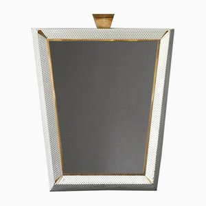 Large Mid-Century Modern Illuminated Mirror with Perforated Metal Frame and Brass Details
