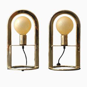 Große postmoderne vergoldete Metall Tischlampen, 1980er, 2er Set