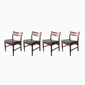 Mid-Century British Black Vinyl Dining Chairs, 1970s, Set of 4