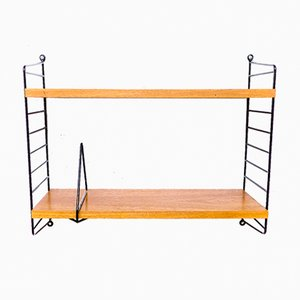Swedish Wall Shelf with Bookend by Nisse Strinning for String, 1960s