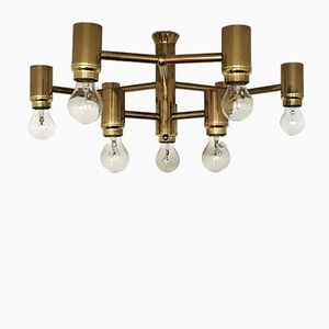Italian Atomic Brass Ceiling Lamp, 1960s