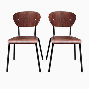 Stapelstühle aus Stahl & Holz, 1960er, 2er Set