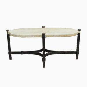 Art Deco Forged Iron & Bleached Oak Coffee Table, 1930s