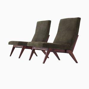 Italian Green Leather Lounge Chairs, 1960s, Set of 2