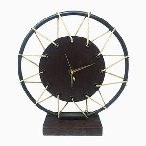 Mid-Century French Wooden Table Clock