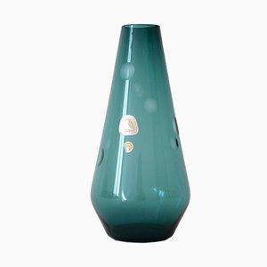 Mid-Century Rauchglas Vase in Petrol von Kristallglasfabrik Alfred Taube