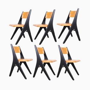 Modell Penguin Stühle mit schwarzen Füßen von Carl Sasse für Casala, 1970er, 6er Set