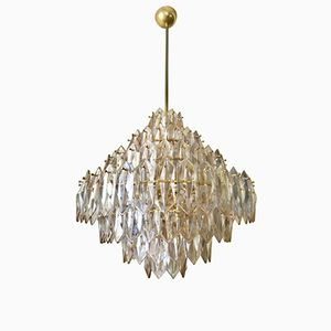 Glass Chandelier with Seven Levels & Gilded Frame from Kinkeldey, 1960s