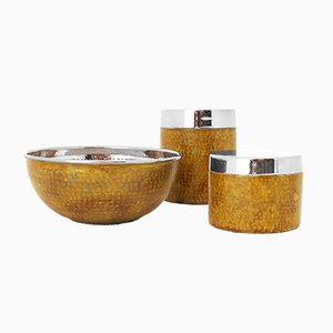 Mid-Century Hammered & Enameled 1 Bowl & 2 Boxes by Aldo Tura