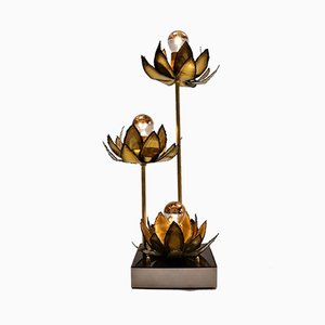 French Brass Lotus Flower Table Lamp, 1970s